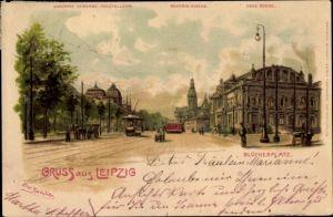 Künstler Litho Spindler, Erwin, Leipzig in Sachsen, Blick auf den Blücherplatz, Straßenbahn