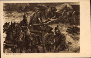 Künstler Ak Hoffmann, Anton, Schwere Artillerie, Geschütztransport, I. WK