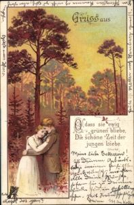 Litho O dass sie ewig grünen bliebe, die schöne Zeit der jungen Liebe, Liebespaar, Umarmung