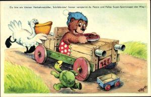 Künstler Ak Schildkröte, Bär Petzi in Holzauto, Pelikan Pelle schiebt ihn an