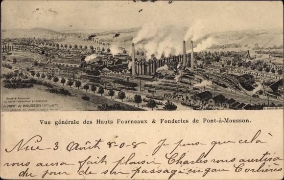 Ak Pont à Mousson Nord, Vue générale des Hauts Fourneaux & Fonderies