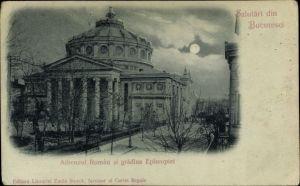 Mondschein Ak București Bukarest Rumänien, Atheneul Roman si gradina Episcopiei