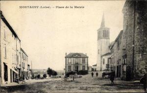 Ak Montagny Loire, Place de la Mairie