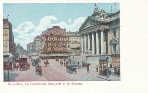 Glitzer Ak Bruxelles Brüssel, Le Boulevard Anspach et la Bourse