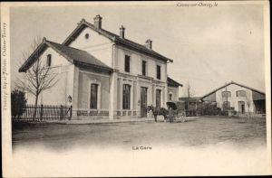 Ak Crouy sur Ourcq Seine et Marne, La Gare