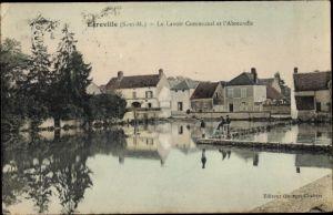 Ak Egreville Seine et Marne, Le Lavoir Communal et l'Abreuvoir
