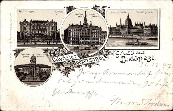 Litho Budapest Ungarn, Redoute, Palais New York, Franz Deak Monument, Parlamentsgebäude