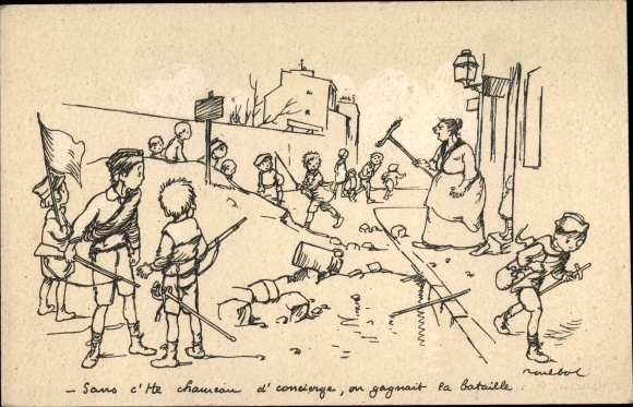 Künstler Ak Poulbot, Francisque, Spielende Kinder, wütende Frau