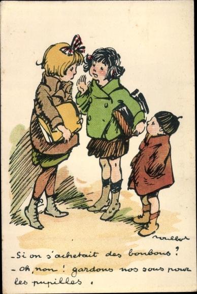 Künstler Ak Poulbot, Francisque, Zwei Mädchen, Junge