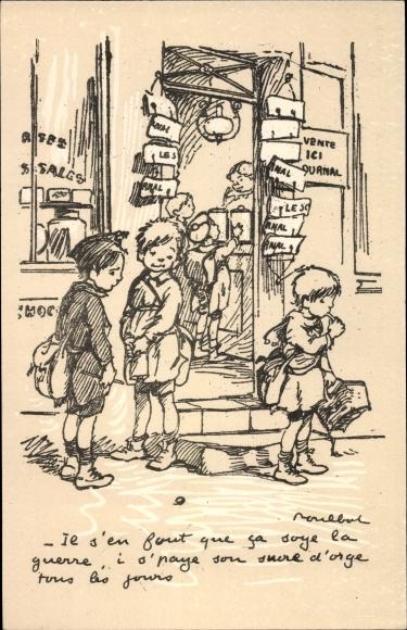 Künstler Ak Poulbot, Francisque, Geschäft, Kinder