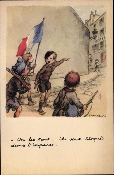 Künstler Ak Poulbot, Francisque, Kinder mit Fahne, Hotel