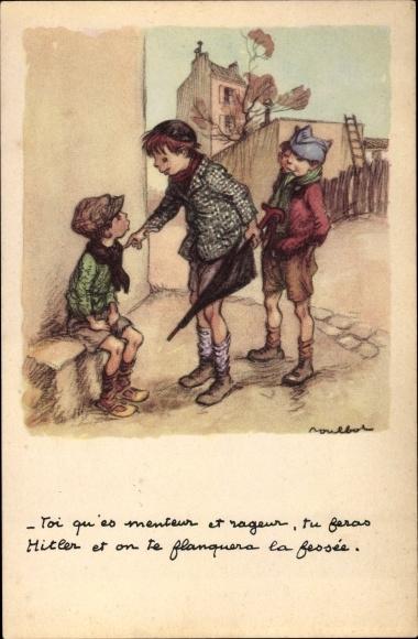 Künstler Ak Poulbot, Francisque, Drei Jungen, Straße