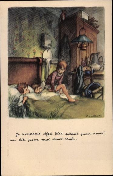 Künstler Ak Poulbot, Francisque, Drei Kinder in einem Bett
