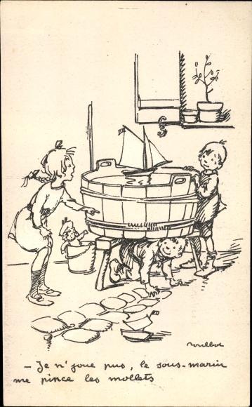 Künstler Ak Poulbot, Francisque, Wasserbottich, Segelboot, Kinder