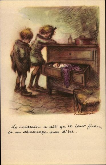 Künstler Ak Poulbot, Francisque, Junge, Mädchen, Baby in Kommodenschublade