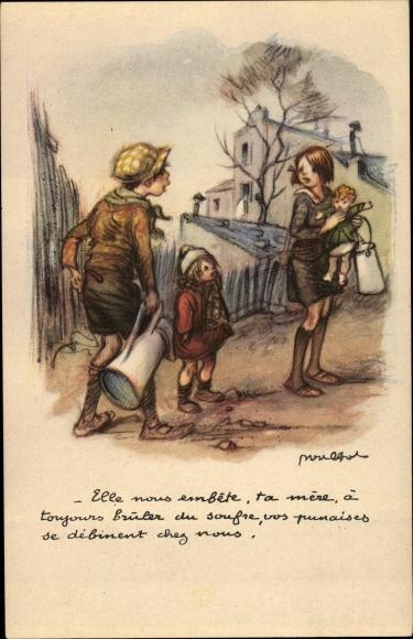 Künstler Ak Poulbot, Francisque, Junge, Mädchen, Puppe, Milchkanne