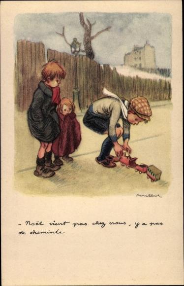 Künstler Ak Poulbot, Francisque, Kinder, Spielzeugeisenbahn