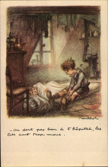 Künstler Ak Poulbot, Francisque, Zwei Jungen, Matratze, Ofen
