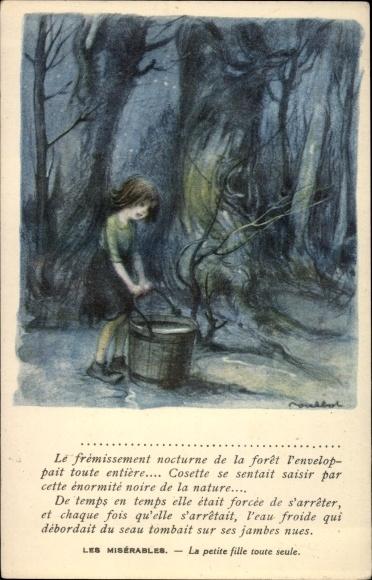 Künstler Ak Poulbot, Francisque, Mädchen mit großem Wassereimer, Nacht, Wald