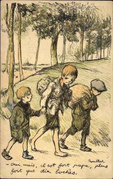 Künstler Ak Poulbot, Francisque, Drei Jungen mit Beuteln