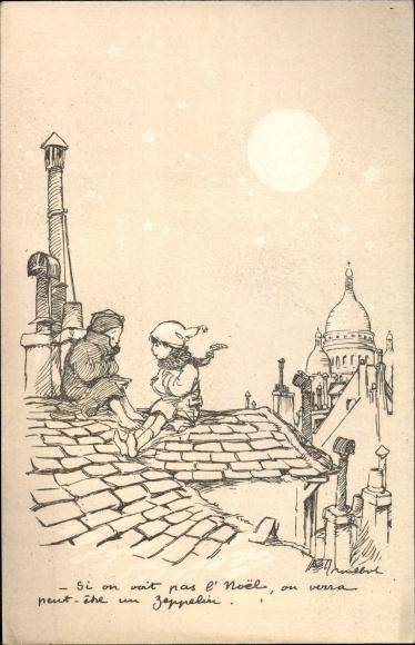 Künstler Ak Poulbot, Francisque, Zwei Kinder auf einem Dach