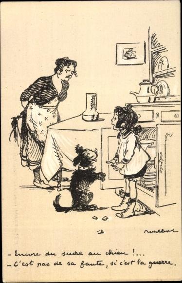 Künstler Ak Poulbot, Francisque, Frau, Mädchen, Hund, Küche