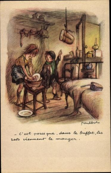 Künstler Ak Poulbot, Francisque, Mädchen wäscht Teller ab, Junge, Brot