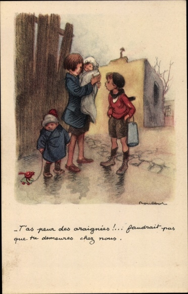 Künstler Ak Poulbot, Francisque, Drei Kinder, Mädchen, Haus