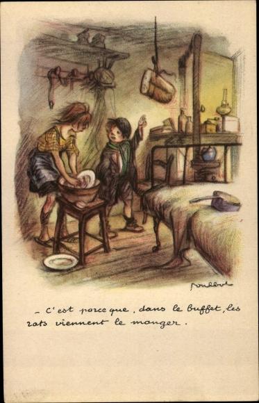 Künstler Ak Poulbot, Francisque, Mädchen wäscht Geschirr ab, Junge, Brot