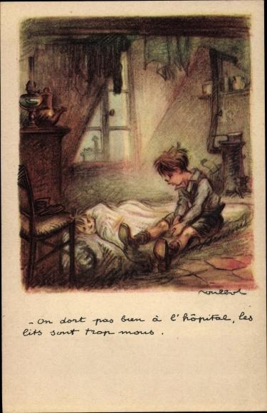 Künstler Ak Poulbot, Francisque, On dort pas bien à l'hôpital, Enfants