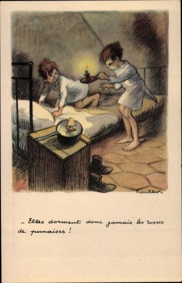 Künstler Ak Poulbot, Francisque, Zwei Jungen, Bett, Nachtlampe