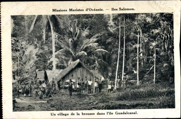 Ak Iles Salomon Ozeanien, Missions Maristes d'Océanie, village de la brousse dans l'île Guadalcanal