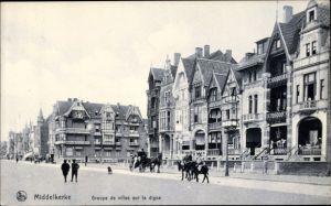 Ak Middelkerke Westflandern, Groupe de villas sur la digue