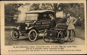 Ak Dix millionème voiture automobile sortie le 4 juin 1924, Henry Ford