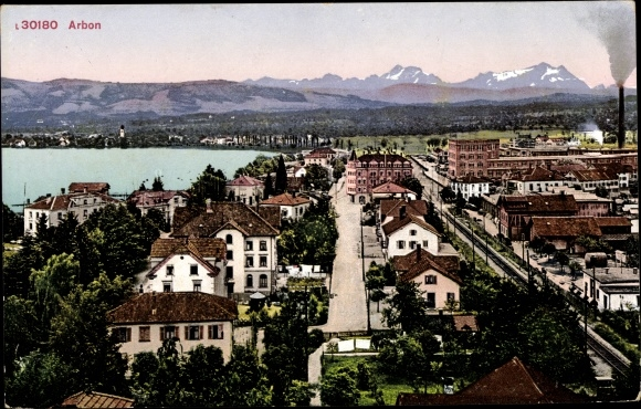 Ak Arbon Kt. Thurgau Schweiz, Blick auf den Ort, Gebirge
