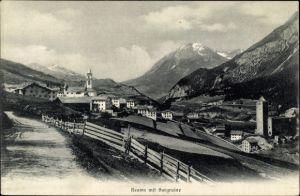 Ak Reams Kanton Graubünden, Blick auf den Ort, Burgruine