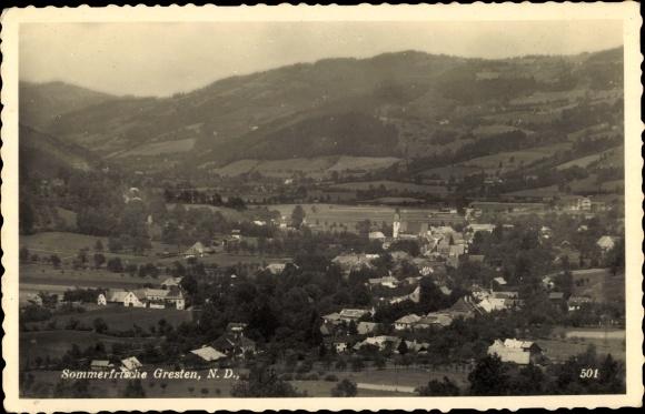 Ak Gresten in Niederösterreich, Blick auf den Ort, Umgebung