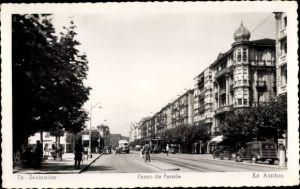 Ak Santander Kantabrien Spanien, Paseo de Pereda, Bus, Straßenbahn, Autos