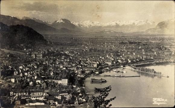 Ak Bregenz in Vorarlberg, Blick auf Ortschaft und Umgebung