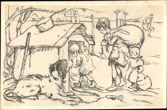 Künstler Ak Poulbot, Francisque, Hundehütte, Hund, Kinder ziehen ein