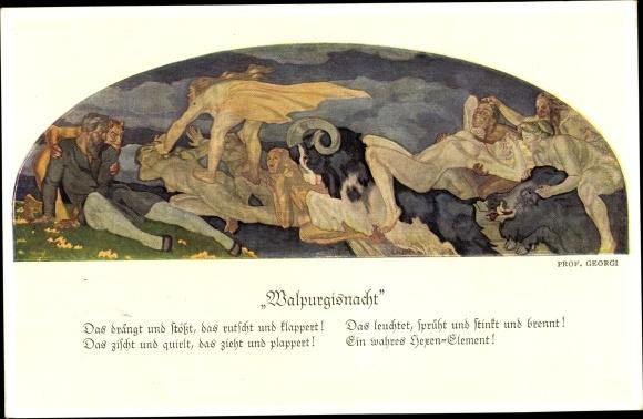 Künstler Ak Georgi, W., Walpurgisnacht, Teufel, Hexen, Steinbock, Gedicht
