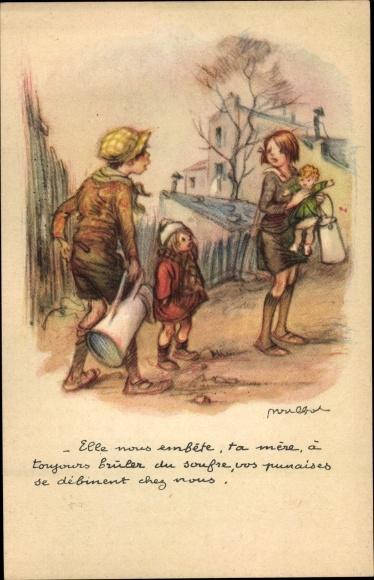 Künstler Ak Poulbot, F., Kinder mit Milchkannen, Baby, Portrait