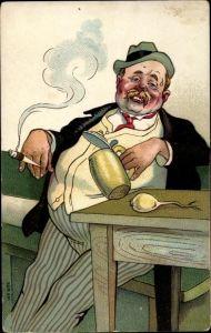 Künstler Ak Dicker Mann trinkt Bier, Zigarette