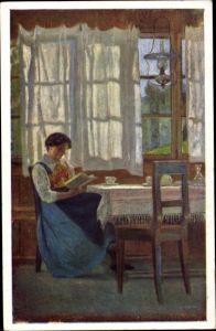 Künstler Ak Hörwarter, Jos. E., Allein, Frau beim Lesen