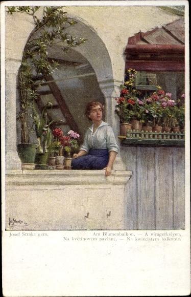 Künstler Ak Straka, Josef, Am Blumenbalkon