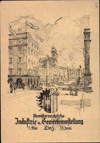 Künstler Ak Linz in Oberösterreich, Oberösterreichische Industrie und Gewerbeausstellung 1946