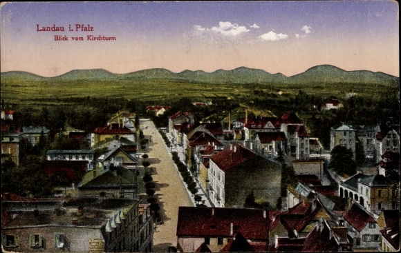 Ak Landau in der Pfalz, Blick vom Kirchturm