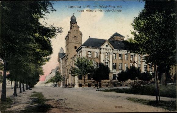 Ak Landau in der Pfalz, West Ring mit Höhere Handelsschule