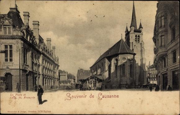 Ak Lausanne Kt. Waadt Schweiz, Poste et l'Eglise Saint Francois