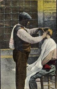 Ak Thessaloniki Griechenland, Dans une Rue, Friseur, Barbier